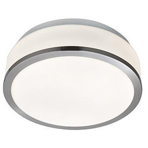 Searchlight 7039-28SS BATHROOM LIGHTING Drum 28cm Satin Silver Flush Fitting With White Glass