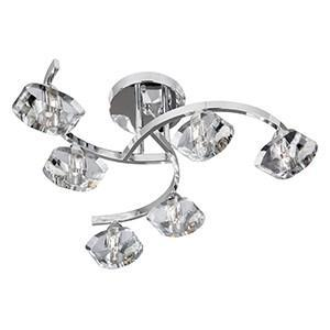 Searchlight 8086-6CC SCULPTURED ICE 6 Light Chrome Curve Semi Flush - Clear Glass