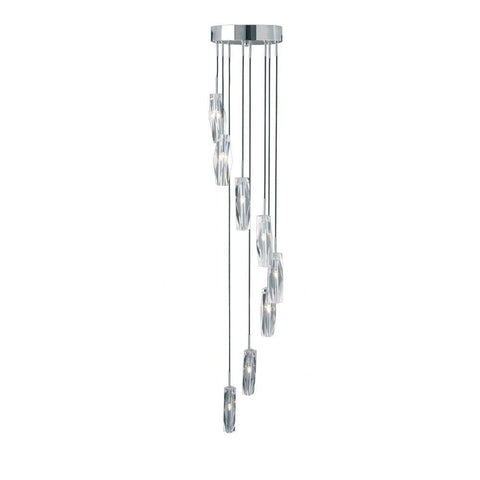 Searchlight 888-8 SCULPTURED ICE 8 Light Chrome Dingle Dangle - Crystal Glass