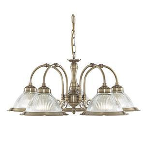 Searchlight 9345-5 AMERICAN DINER 5 Light Fitting Antique Brass Diner-Clear Glass