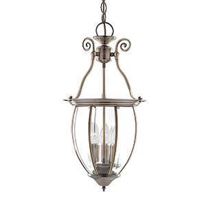 Searchlight 9501-3 LANTERNS 3 Light Bowed Bevelled Glass Antique Brass Lantern