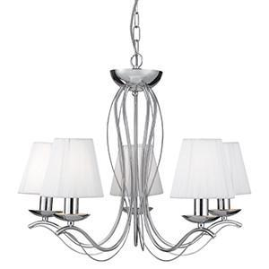 Searchlight 9825-5CC ANDRETTI 5 Light Chrome Fitting - White String Shades
