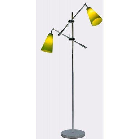 Stockholm 2 Floor lamp In Chrome With Coloured Glass and Metal Shade Options