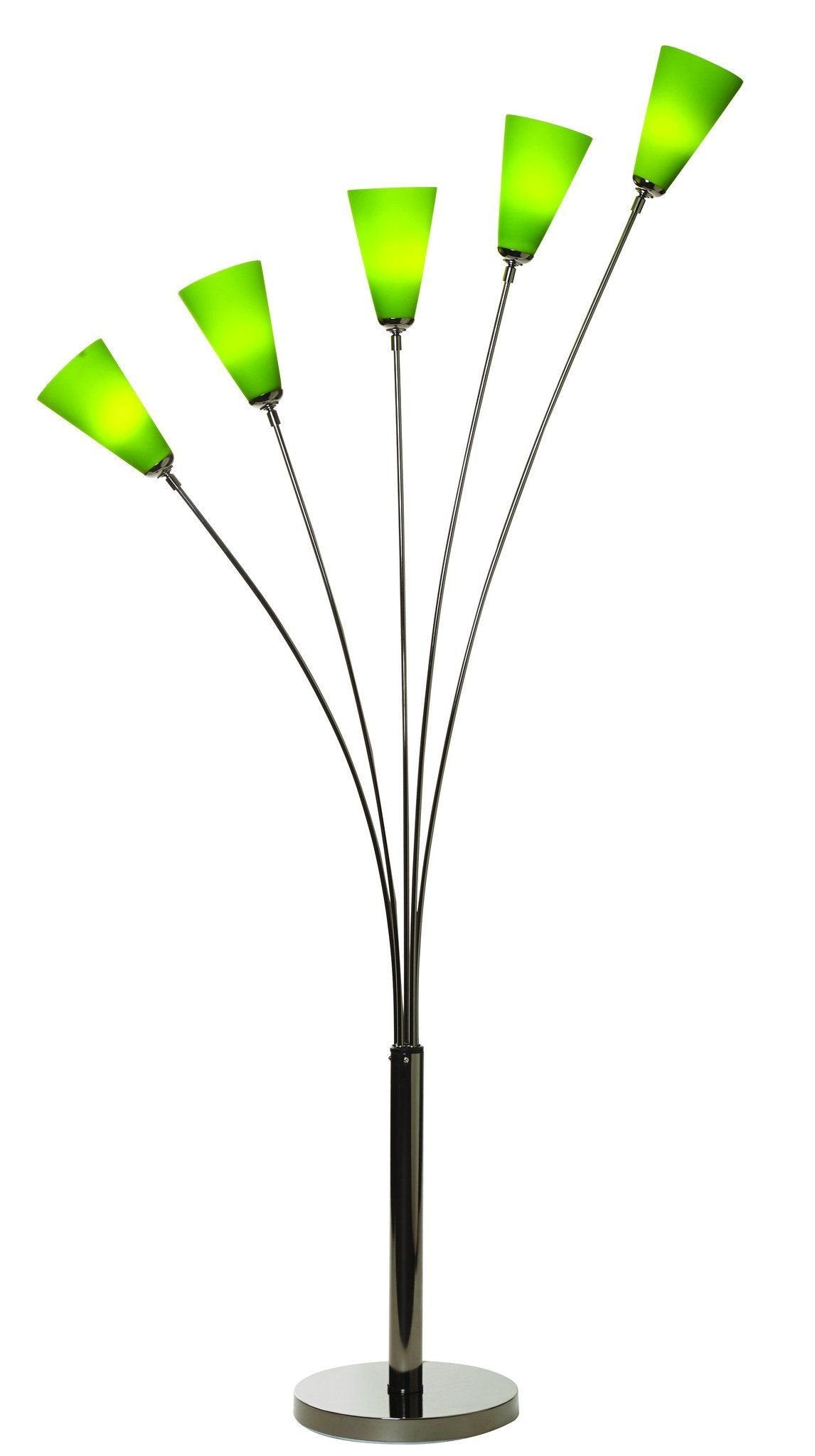 Tulip 5 Arm Floor Lamp In Black Chrome With 5 Coloured Shades Dc