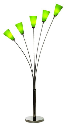 Tulip 5 Arm Floor Lamp In Black Chrome With 5 Coloured Shades