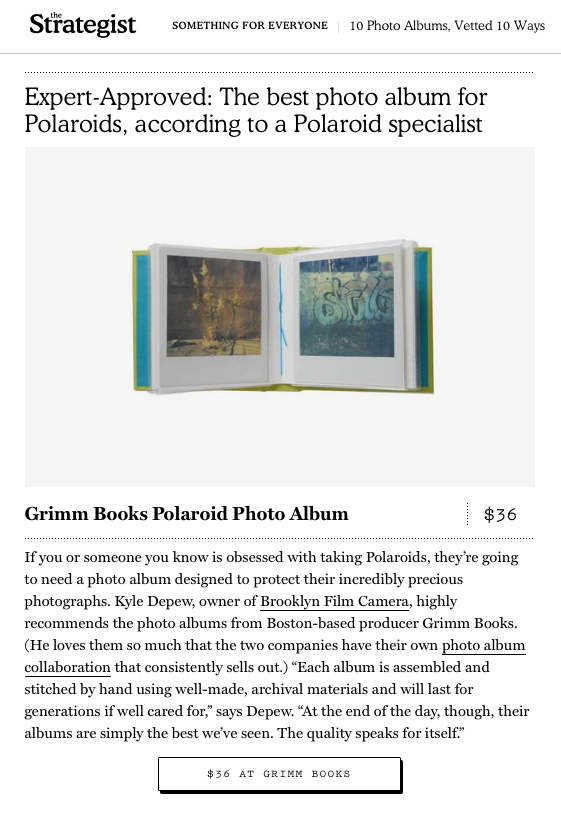 "Named the ""Best Photo Album for Polaroids"" by the Strategist"