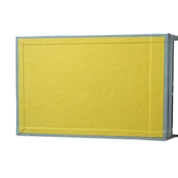 chartreuse endsheet on steel blue book