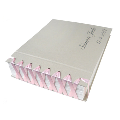 personalized satin ribbon bound scrapbook