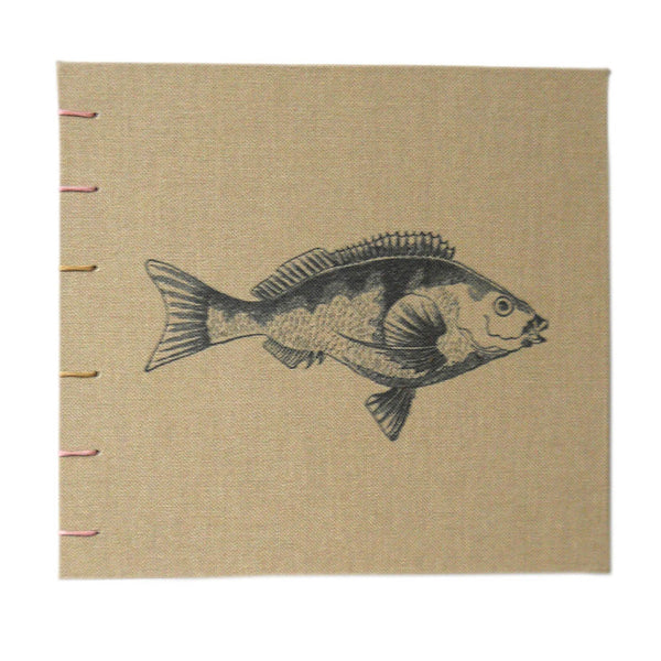 khaki brown book with fish cover