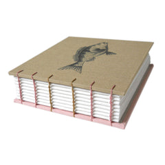 khaki and pink coptic bound blank book with fish