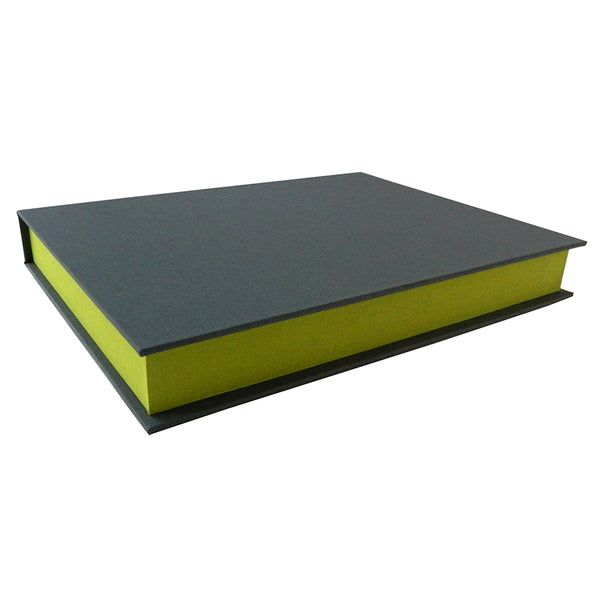 grey cover with green accents clamshell box