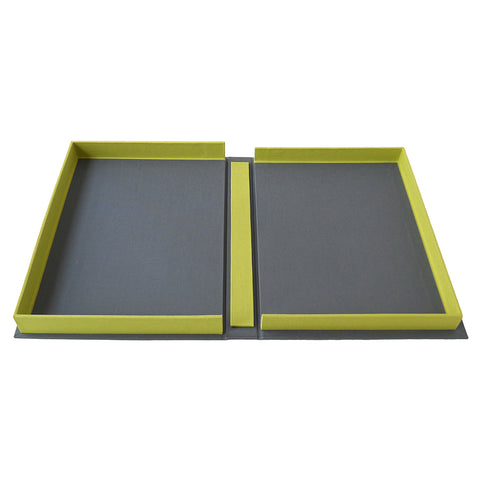 grey and chartreuse clamshell box