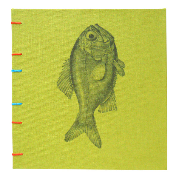lime green book with fish cover