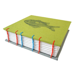 lime green coptic bond journal with fish