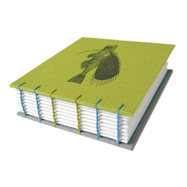 lime green coptic bound journal with fish cover
