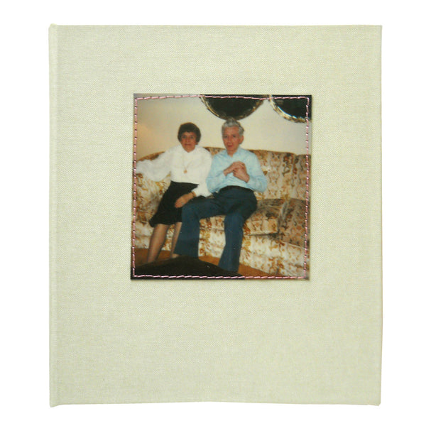 blank journal with vintage polaroid of couple on cover