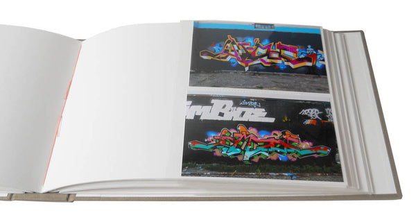 custom photo guestbook with slip in style sleeves for 4x6 photos and blank page for guests' notes and signatures