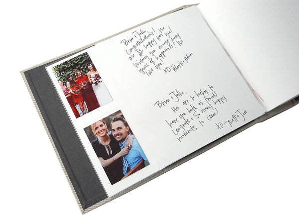 custom photo booth guestbook with slip in style sleeves for instax mini photos and blank page
