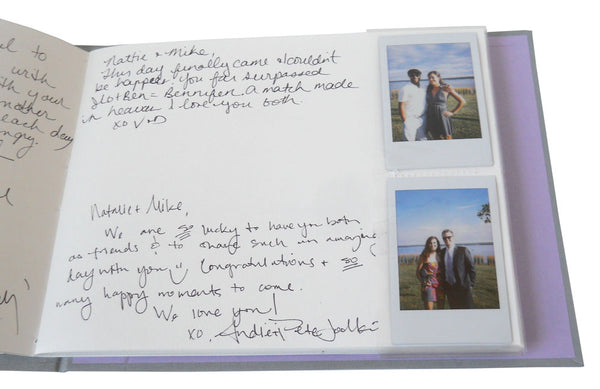 instax mini photo booth guestbook with slip in sleeves for instax mini photos and blank page for guests' notes