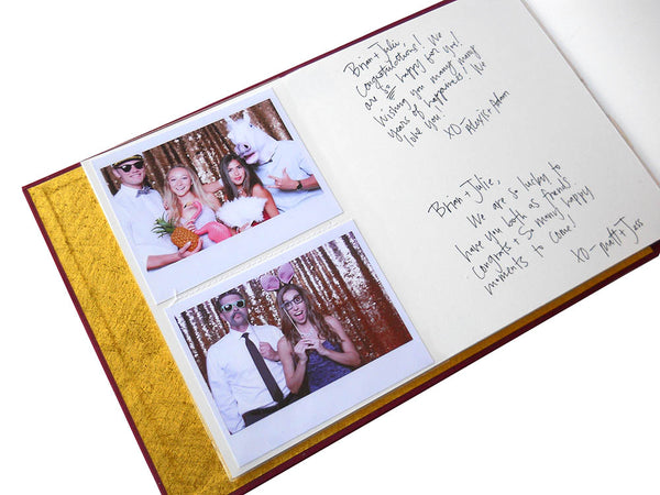 photo guestbook with slip in style sleeves for fuji instax wide photos and blank page for notes