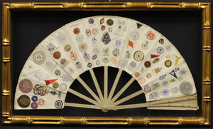 16 Panel 19th C Fan w/ 163 Letterhead Emblems