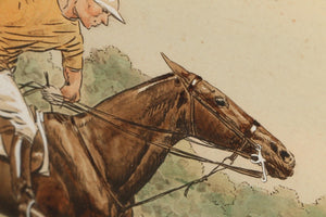 "Paul Brown Hand-Coloured 1930 Polo Litho ""Down the Field"" Pub by The Derrydale Press"