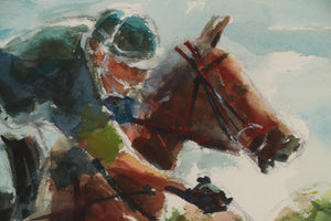 """Polo Player"" Watercolor by Arne Westerman (1927-2017)"