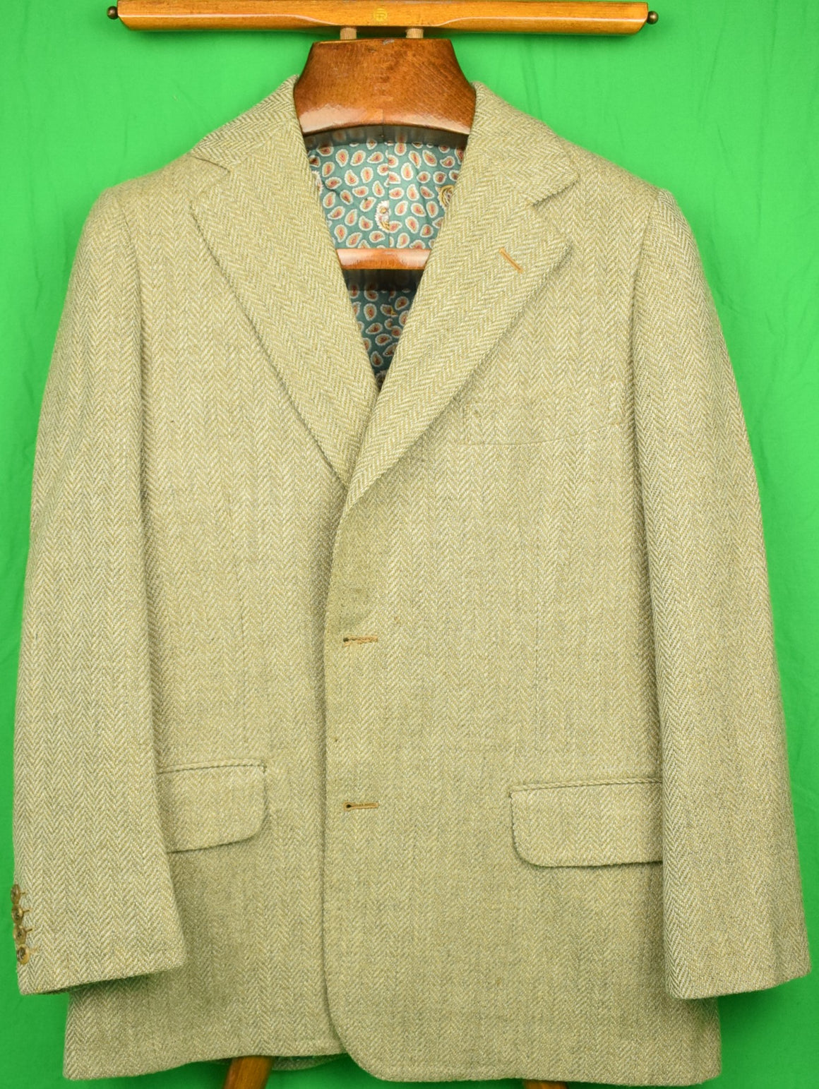 J Press Silk/ Wool Herringbone c1974 Sport Jacket w/ Paisley/ Tiger Head Lining Sz: 42R