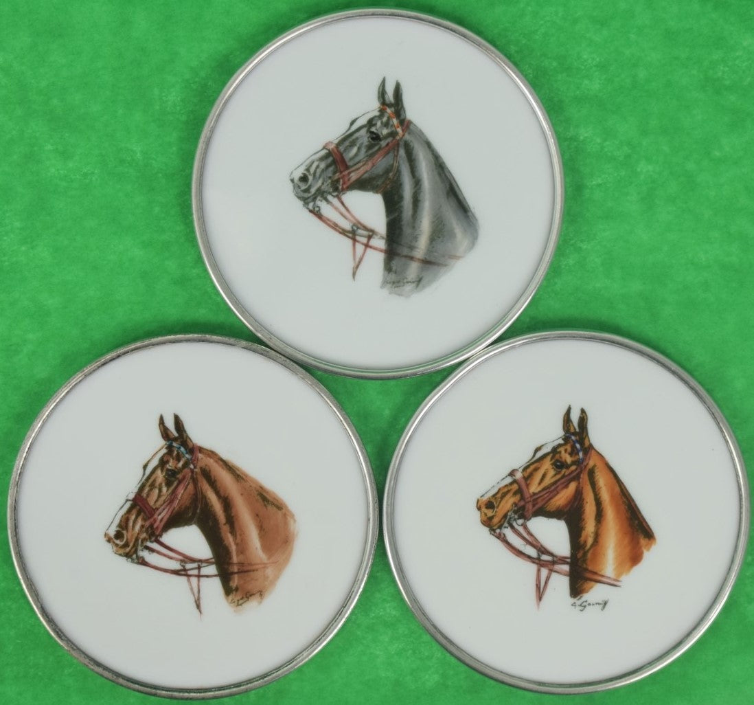 Set of (3) Cyril Gorainoff Horse Head Milk Glass w/ Sterling Rim Coasters