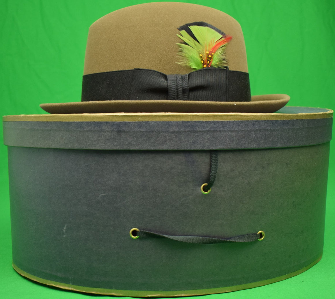 Brooks Brothers Cornhill Felt Hat w/ Feather Under Grosgrain Band Sz: 7 New/ Old Stock in BB Box
