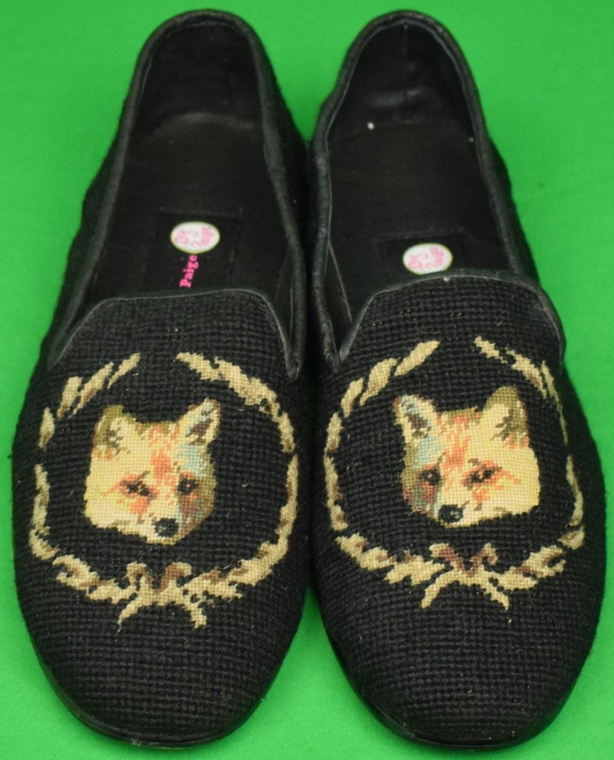 """Needlepoint Black Slippers Embroidered w/ Fox Mask Crest"" Sz: 11-1/2 (New!)"