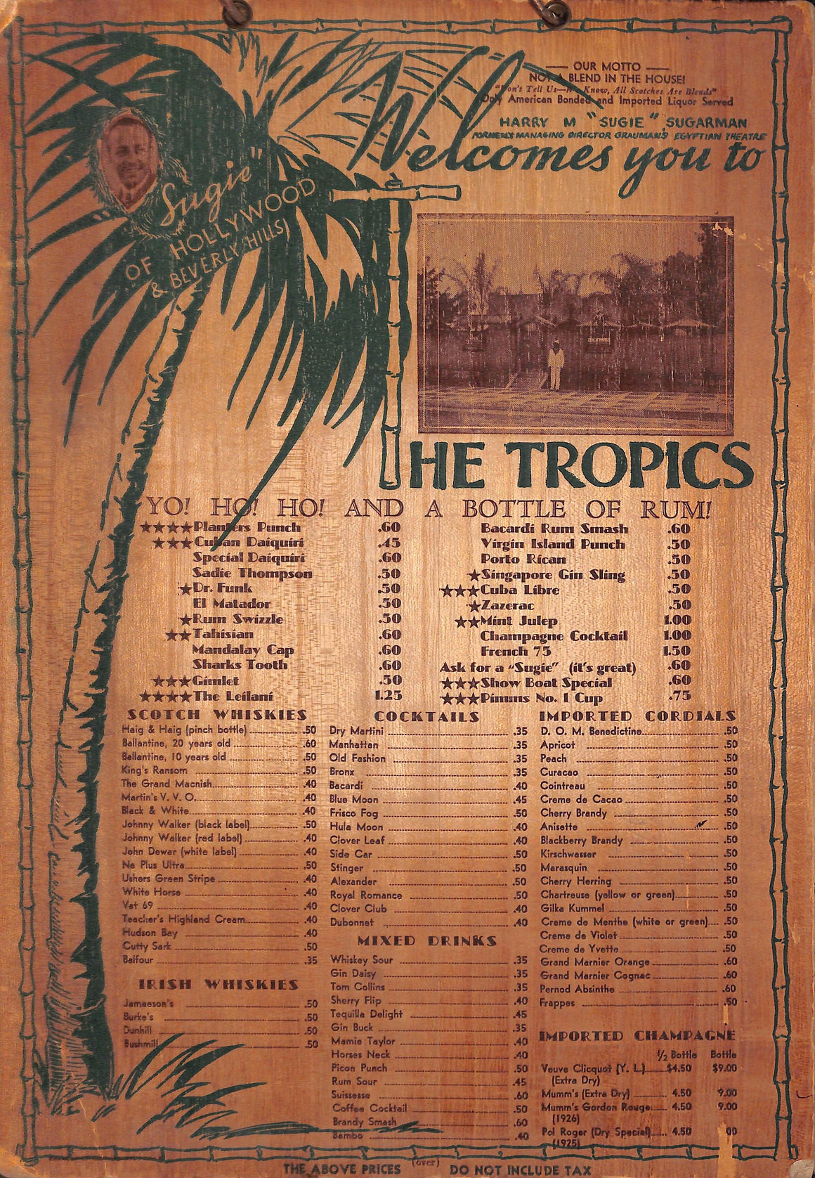 """Sugie"" of Beverly Hills The Tropics Menu"