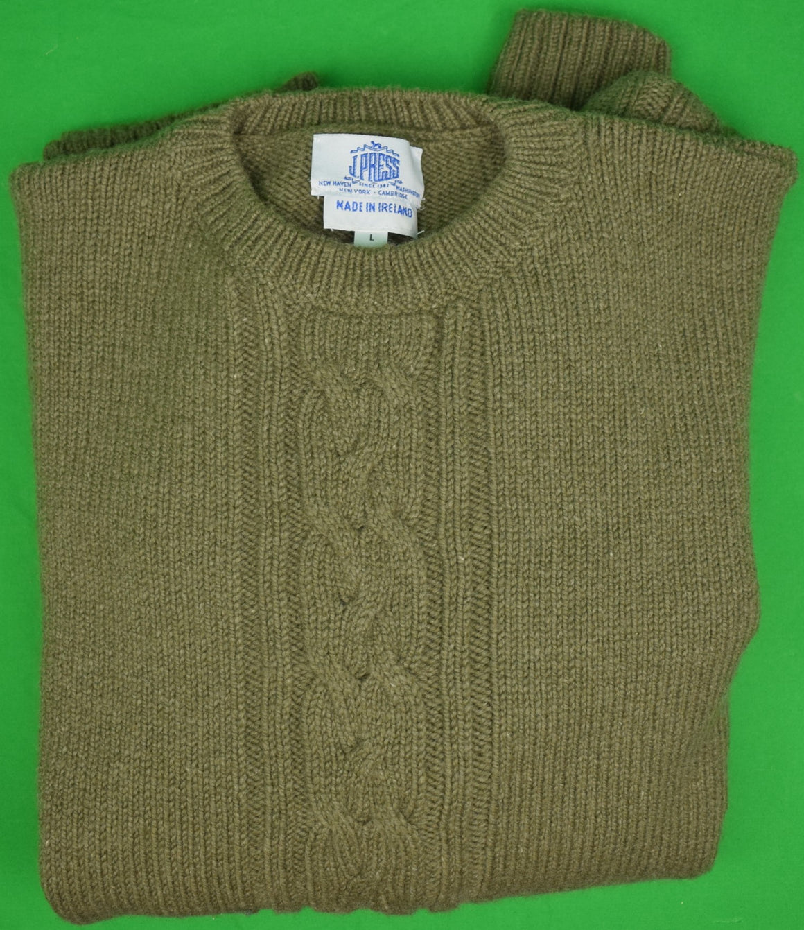 J Press Olive 95% Wool/ 5% Cashmere Irish Cable Crew Neck Sweater Sz: L