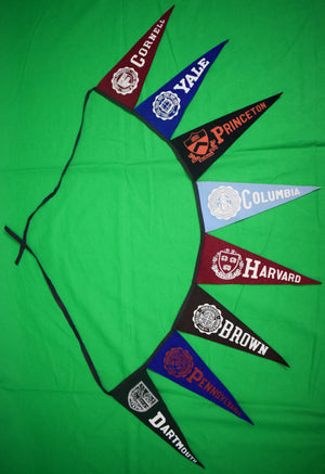 Set of 8 Ivy League c1950s Pennants