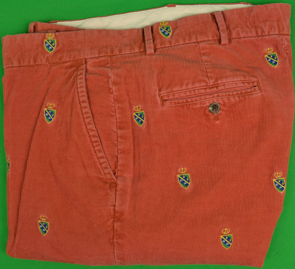 "Rugby Ralph Lauren Coral Pinwale Cord Trousers w/ Heraldic Emblem Sz: 36"" (SOLD!)"