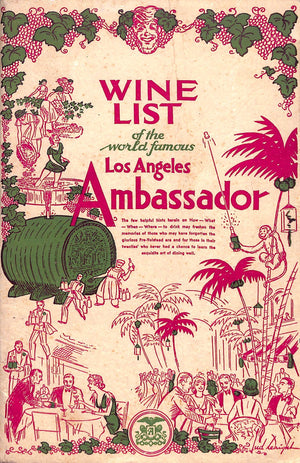 Wine List of The World Famous Los Angeles Ambassador