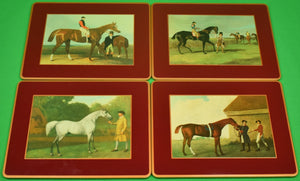 """Boxed Set of 4 Brooks Brothers English Thoroughbred Burgundy Place Mats (New in Box!)"""