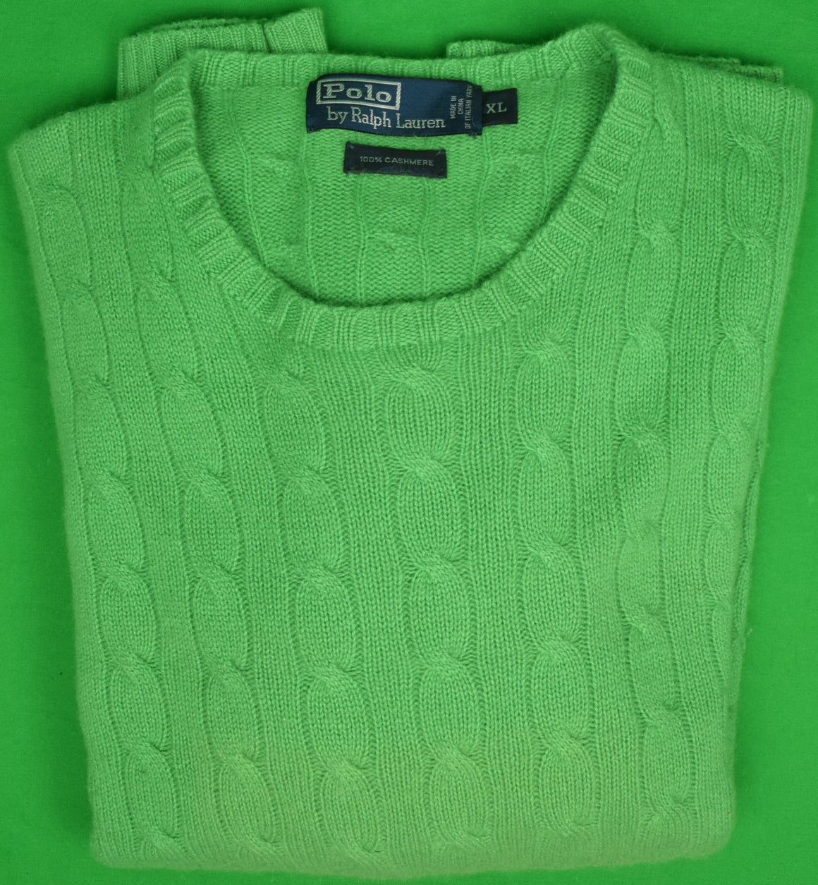Polo by Ralph Lauren 100% Cashmere Kelly Green Cable Crew Neck Sweater Sz: XL