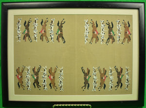 Fox-Hunt Silk Needlepoint Backgammon Board w/ (30) Chips