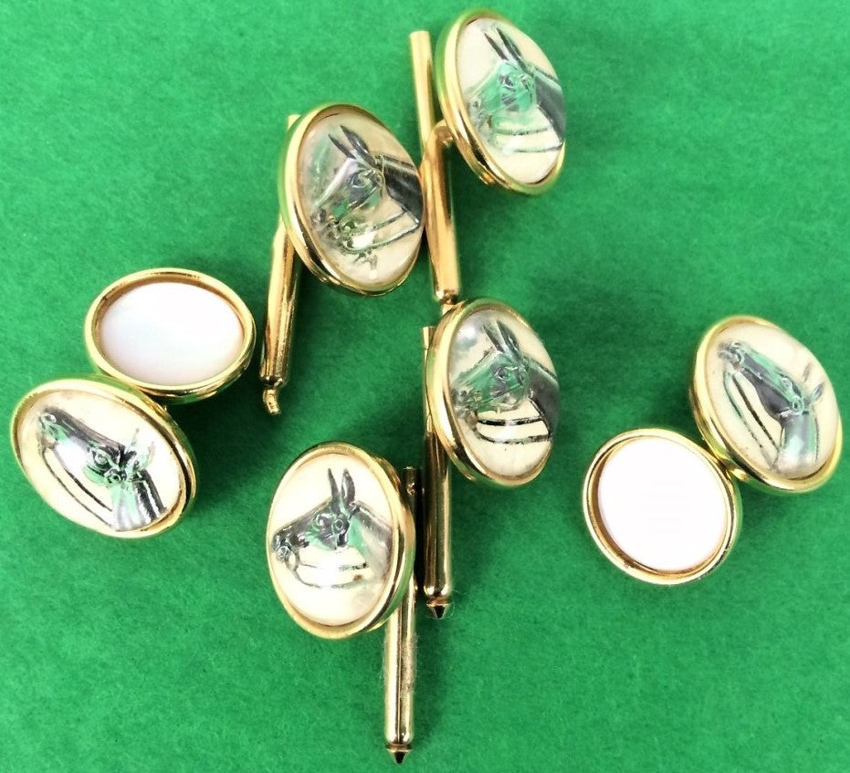 Intaglio Horsehead 4 Stud Buttons & Pair of Pearl-Backed Link Cufflinks