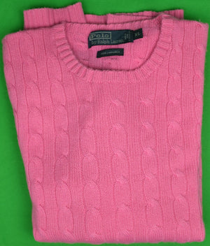 Polo by Ralph Lauren 100% Hot Pink Cashmere Cable Crew Neck Sweater Sz: XL