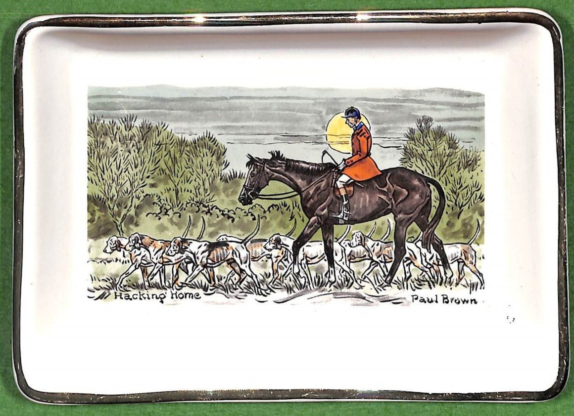 "Paul Brown ""Hacking Home"" Porcelain Hand-Colored c.1962 Tray"