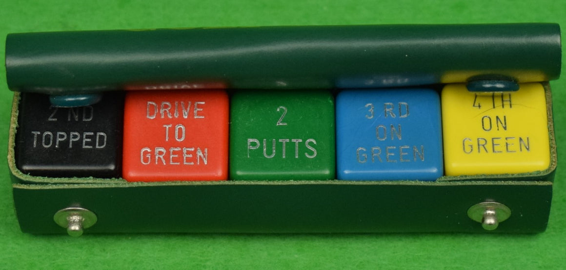 """Abercrombie & Fitch Set of 5 Bakelite Golf Dice in Leather Snap Case"""
