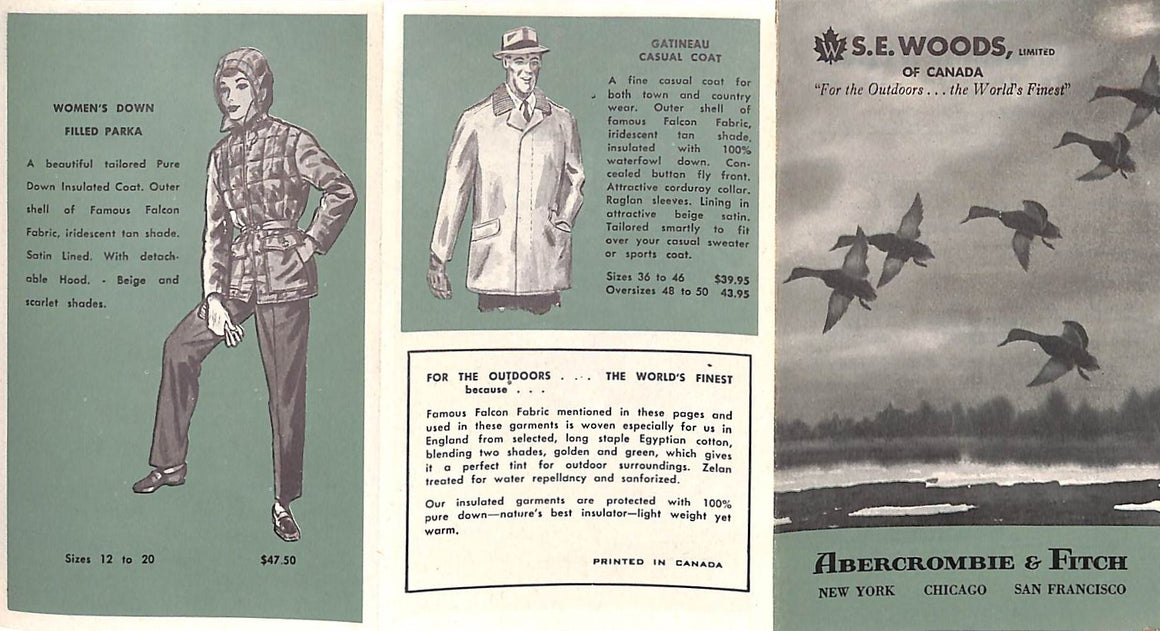 """Abercrombie & Fitch 6-Fold S.E. Woods of Canada Outerwear Brochure"""
