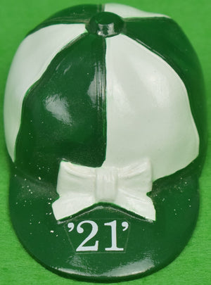"""21"" Club Green/ White Jockey Cap Bottle Opener"