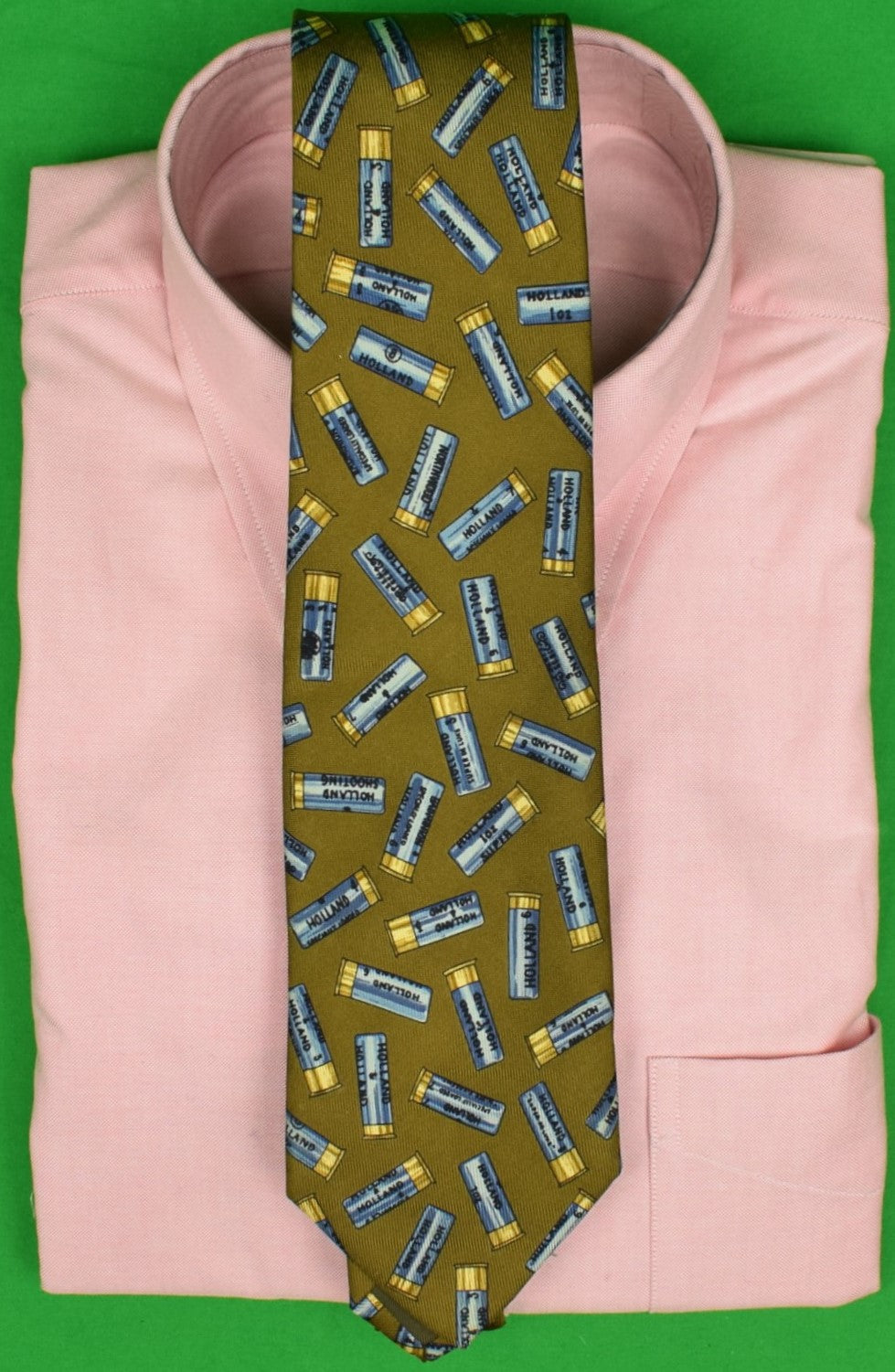 Drake's for Holland & Holland Blue Shotgun Shell Club Tie & Olive English Silk