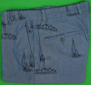 Brooks Brothers Sailboat Print Chambray Trousers Sz: 33W/ 32L