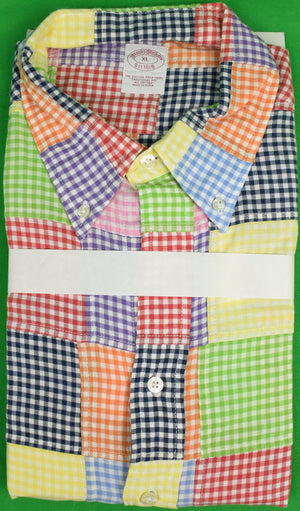 Brooks Brothers Patch Gingham Check L/ S Sport Shirt Sz: XL