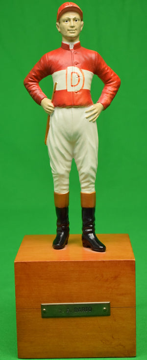 """21"" Club Jockey Doorstop w/ B.A. Dario Plaque"
