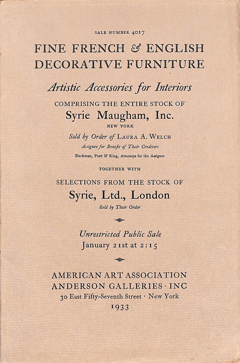 """Fine French & English Decorative Furniture"" 1933 Comprising The Entire Stock of Syrie Maugham"